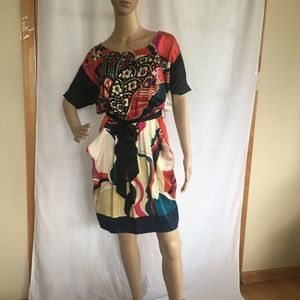 Colorful Silk Dress with Pockets